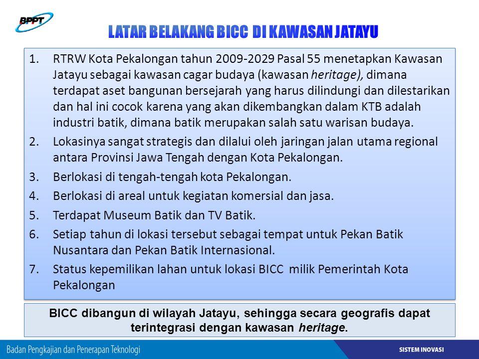 1.RTRW Kota Pekalongan tahun 2009-2029 Pasal 55 menetapkan Kawasan Jatayu sebagai kawasan cagar budaya (kawasan heritage), dimana terdapat aset bangunan bersejarah yang harus dilindungi dan dilestarikan dan hal ini cocok karena yang akan dikembangkan dalam KTB adalah industri batik, dimana batik merupakan salah satu warisan budaya.
