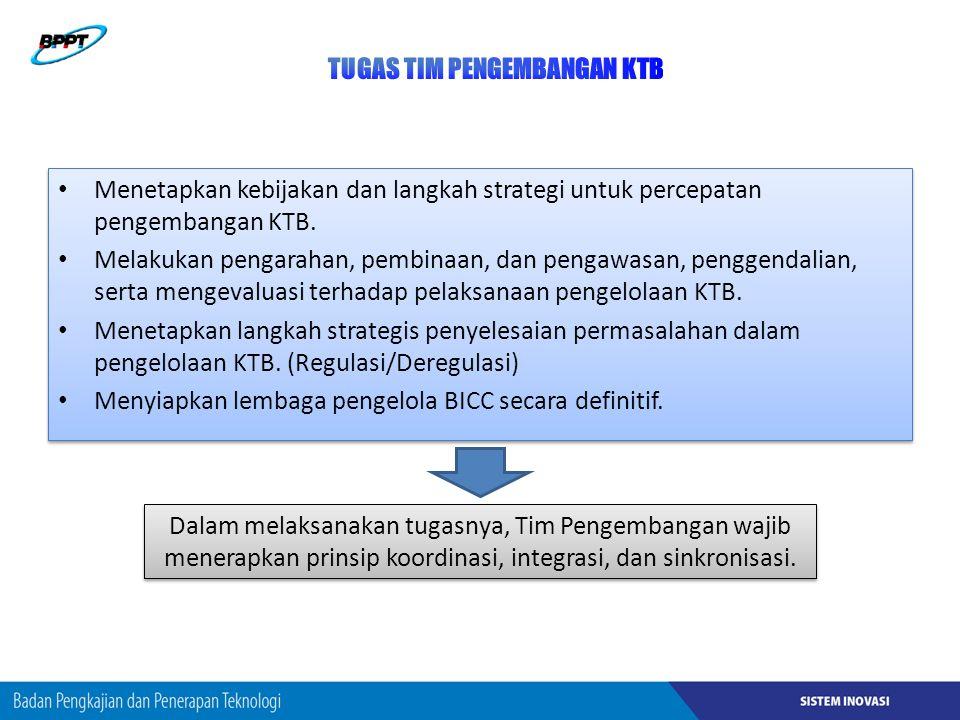 Menetapkan kebijakan dan langkah strategi untuk percepatan pengembangan KTB.