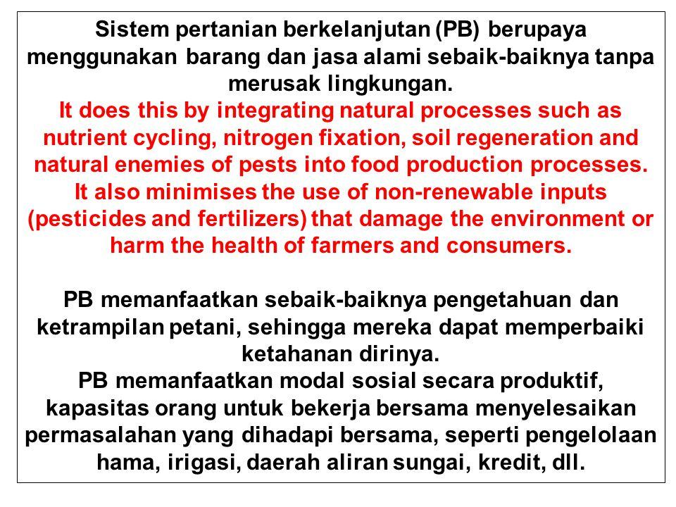 Sistem pertanian berkelanjutan (PB) berupaya menggunakan barang dan jasa alami sebaik-baiknya tanpa merusak lingkungan. It does this by integrating na