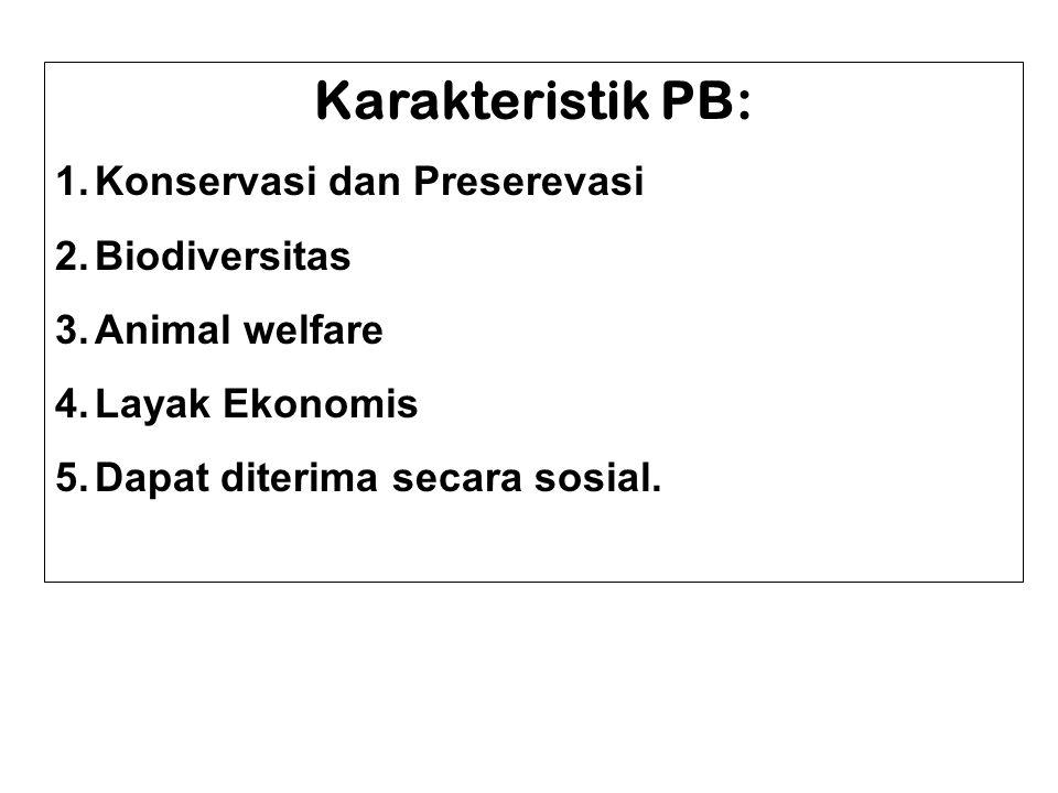 Karakteristik PB: 1.Konservasi dan Preserevasi 2.Biodiversitas 3.Animal welfare 4.Layak Ekonomis 5.Dapat diterima secara sosial.
