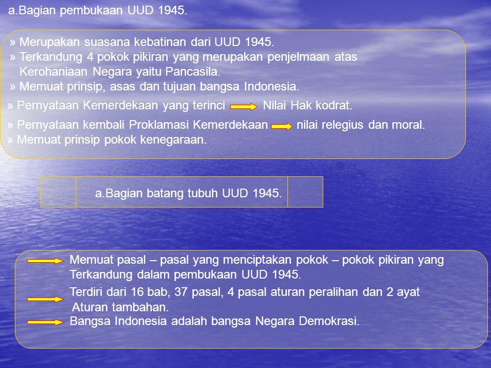 Pembukaan Batang tubuh Penutup Bagaimanakah dengan UUD 1945 UUD 1945 Konstitusi pertama terdiri dari 3 bagian 3.Suasana kebaktian Konstitusi pertama.