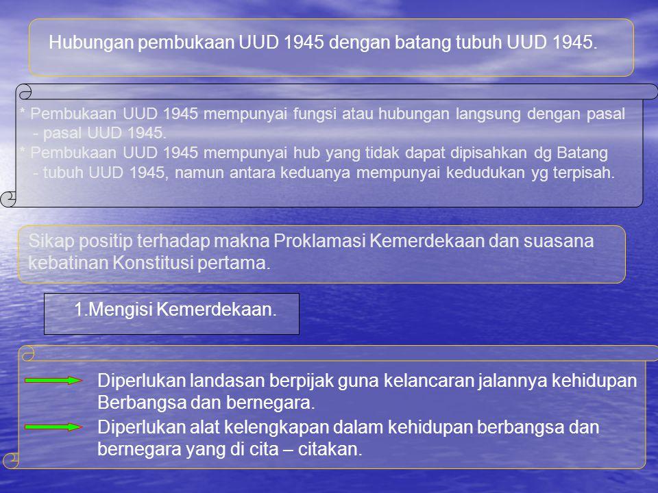 Proklamasi Kemerdekaan dengan pembukaan UUD 1945 merupakan suatu kesatuan yang bulat Pembukaan UUD 1945 merupakan suatu amanat yang luhur dan suci dari Proklamasi Kemerdekaan 17 Agustus 1945.