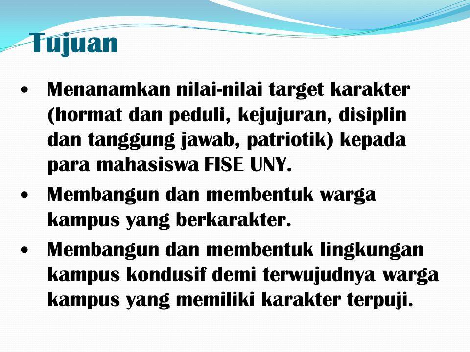 Tujuan Menanamkan nilai-nilai target karakter (hormat dan peduli, kejujuran, disiplin dan tanggung jawab, patriotik) kepada para mahasiswa FISE UNY. M