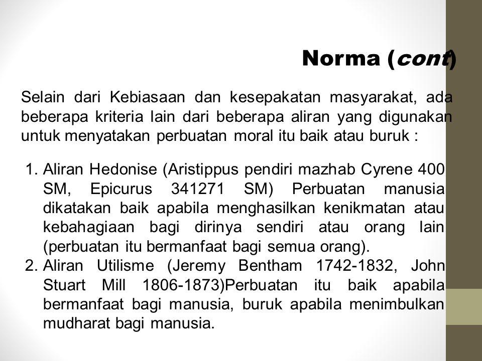 Norma (cont) 3.Aliran Naturalisme (J.J.Rousseau).