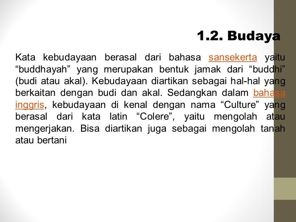 "Kata kebudayaan berasal dari bahasa sansekerta yaitu ""buddhayah"" yang merupakan bentuk jamak dari ""buddhi"" (budi atau akal). Kebudayaan diartikan seba"