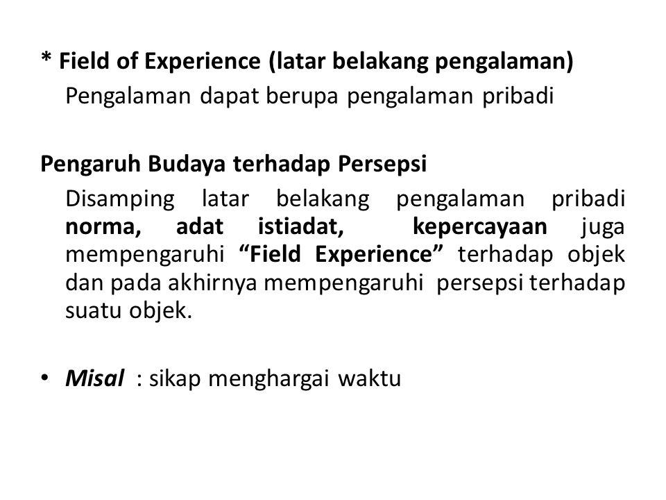 * Field of Experience (latar belakang pengalaman) Pengalaman dapat berupa pengalaman pribadi Pengaruh Budaya terhadap Persepsi Disamping latar belakan