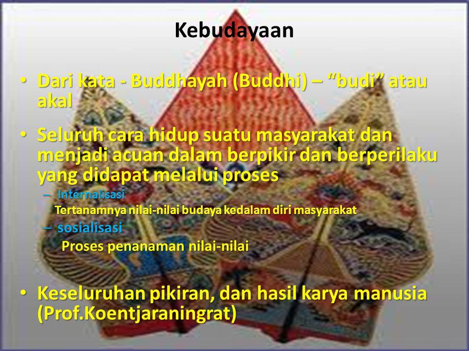 """Kebudayaan Dari kata - Buddhayah (Buddhi) – """"budi"""" atau akal Dari kata - Buddhayah (Buddhi) – """"budi"""" atau akal Seluruh cara hidup suatu masyarakat dan"""