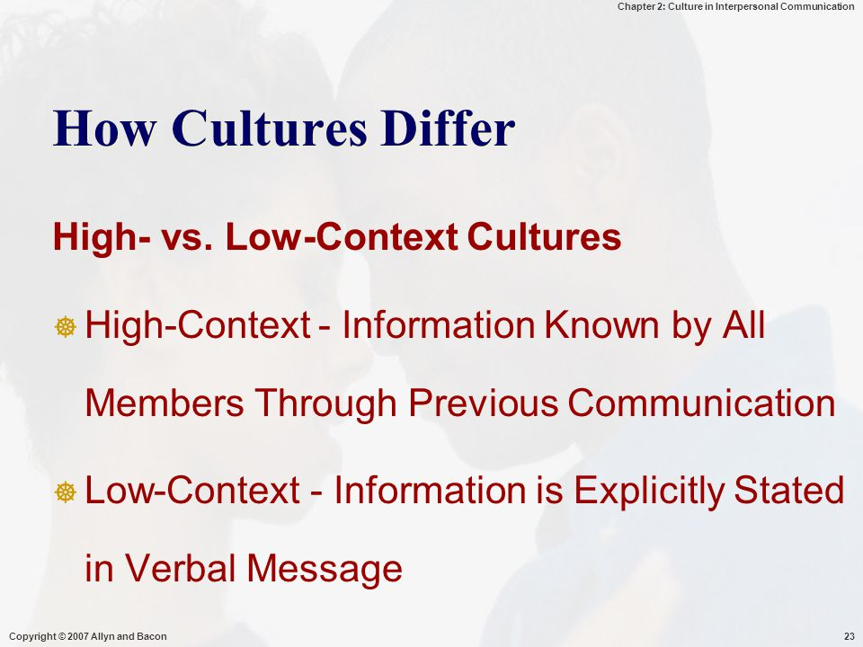 Chapter 2: Culture in Interpersonal Communication Copyright © 2007 Allyn and Bacon23 How Cultures Differ High- vs.