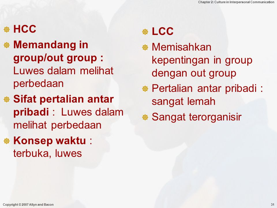 Chapter 2: Culture in Interpersonal Communication Copyright © 2007 Allyn and Bacon31  HCC  Memandang in group/out group : Luwes dalam melihat perbed