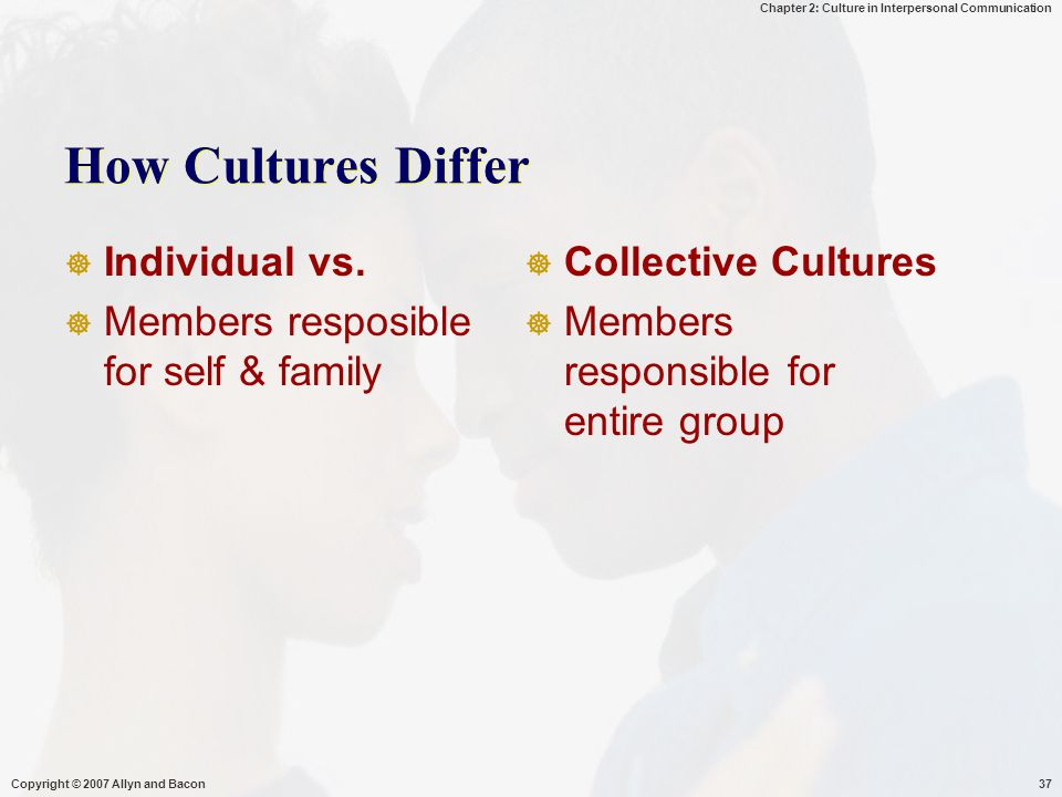 Chapter 2: Culture in Interpersonal Communication Copyright © 2007 Allyn and Bacon37 How Cultures Differ  Individual vs.  Members resposible for sel