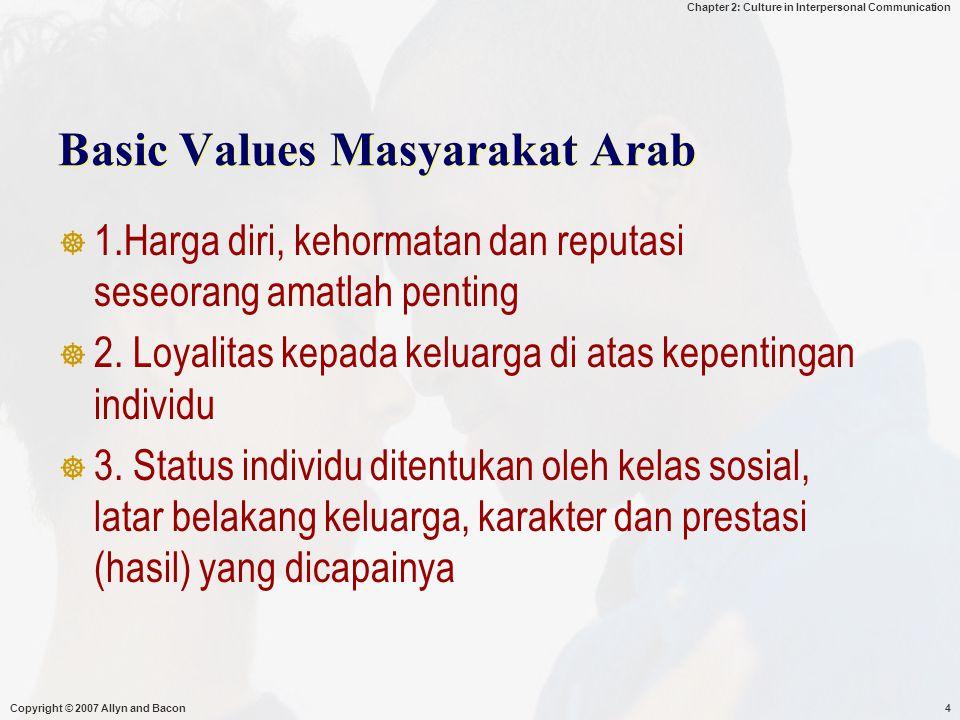 Chapter 2: Culture in Interpersonal Communication Copyright © 2007 Allyn and Bacon15  Secara normatif komunikasi antar pribadi mengandalkan gaya berkomunikasi yg dihubungkan dengan nilai – nilai yg dianut orang.