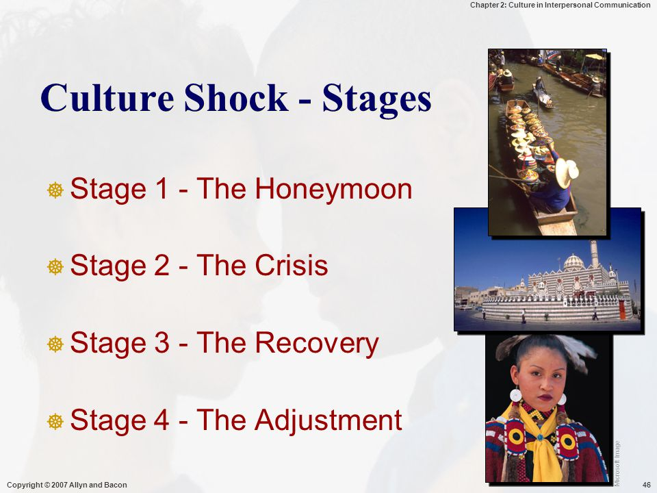 Chapter 2: Culture in Interpersonal Communication Copyright © 2007 Allyn and Bacon46 Culture Shock - Stages  Stage 1 - The Honeymoon  Stage 2 - The Crisis  Stage 3 - The Recovery  Stage 4 - The Adjustment Microsoft Image