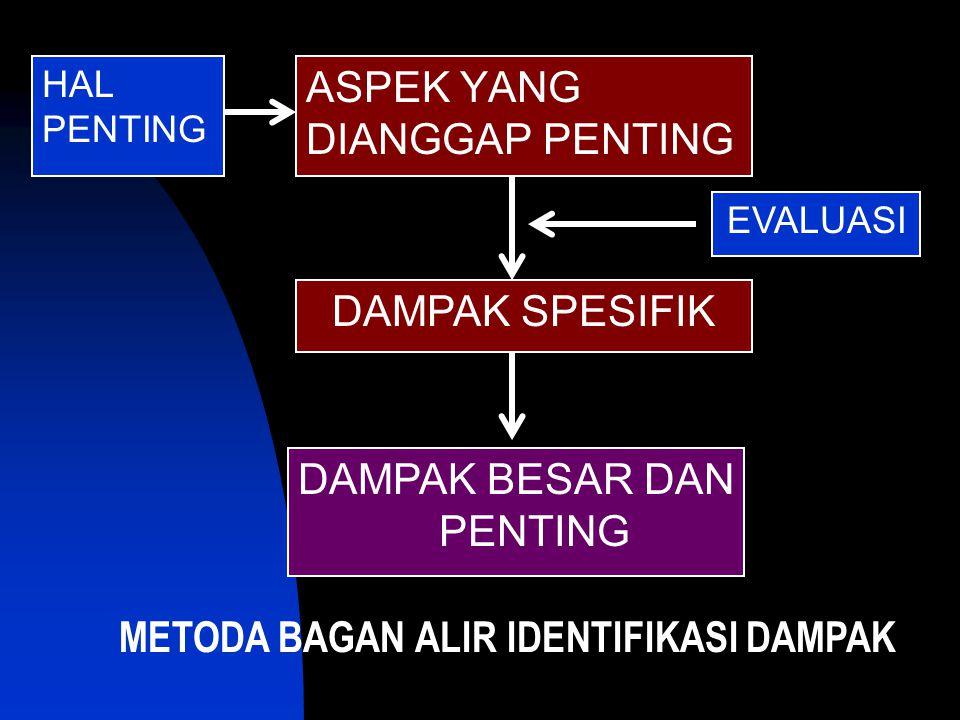 ASPEK YANG DIANGGAP PENTING DAMPAK SPESIFIK DAMPAK BESAR DAN PENTING HAL PENTING EVALUASI METODA BAGAN ALIR IDENTIFIKASI DAMPAK