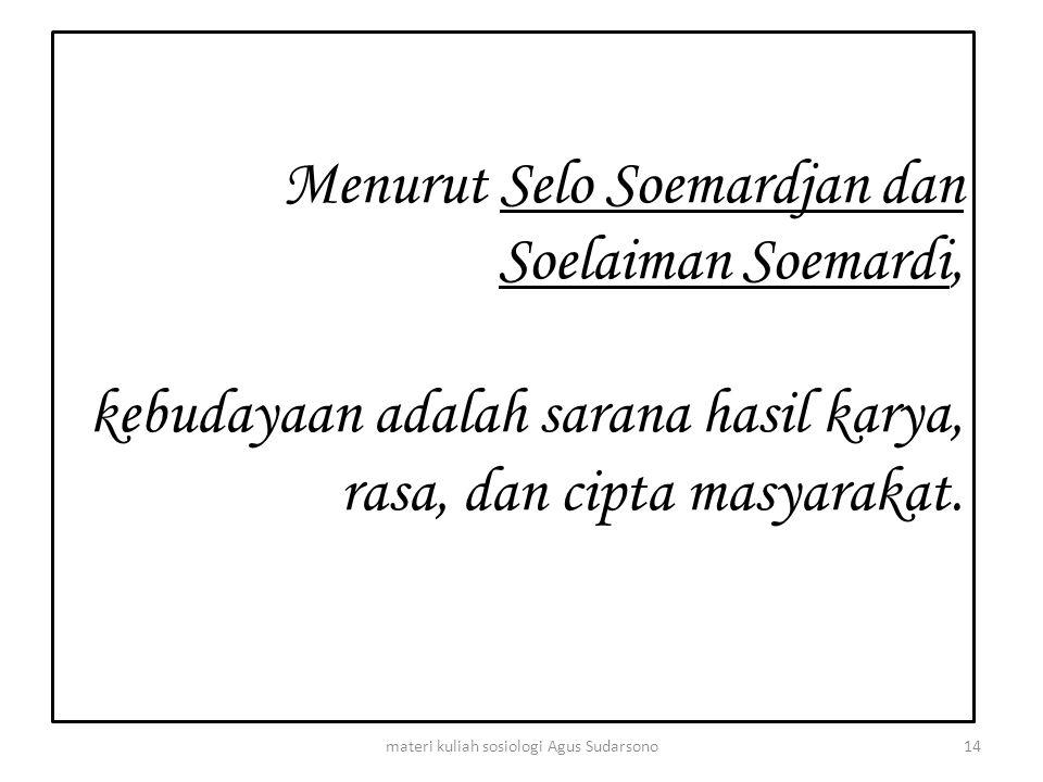 Menurut Selo Soemardjan dan Soelaiman Soemardi, kebudayaan adalah sarana hasil karya, rasa, dan cipta masyarakat. 14materi kuliah sosiologi Agus Sudar