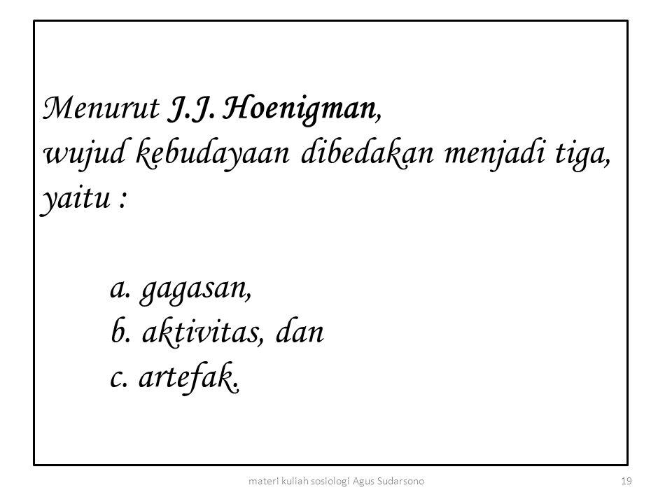 Menurut J.J. Hoenigman, wujud kebudayaan dibedakan menjadi tiga, yaitu : a. gagasan, b. aktivitas, dan c. artefak. 19materi kuliah sosiologi Agus Suda