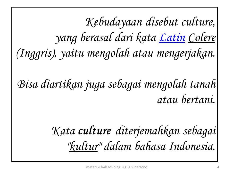 Kebudayaan disebut culture, yang berasal dari kata Latin Colere (Inggris), yaitu mengolah atau mengerjakan. Bisa diartikan juga sebagai mengolah tanah