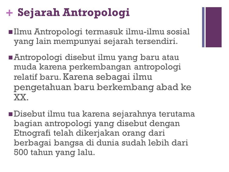 + Manfaat Mempelajari Antropologi Antropologi memadukan secara integratif tinjauan Fisik Biologis dan Sosio-Budaya terhadap kehidupan manusia Antropol