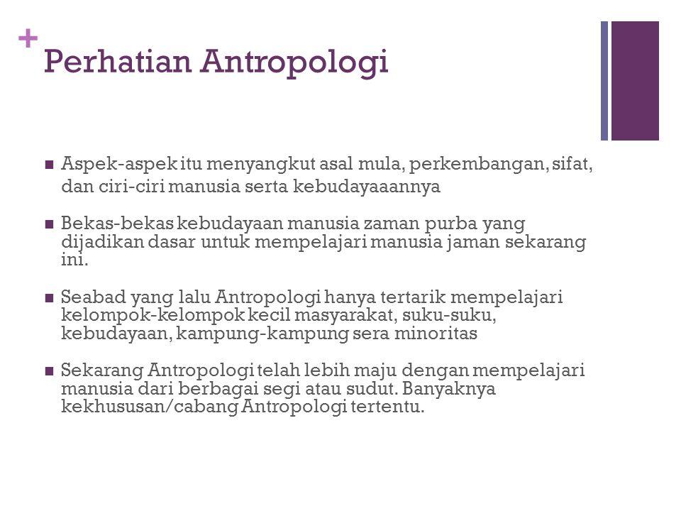 + Pengertian Antropologi Ralfh L Beals dan Harry Hoijen (1954: 2) Antropologi adalah ilmu yang mempelajari manusia dan semua apa yang dikerjakan manusia Allan H Smith & John L Fischer Antropologi berusaha untuk melihat manusia dengan segala kompleksitasnya, atau manusia dengan segala aspeknya.