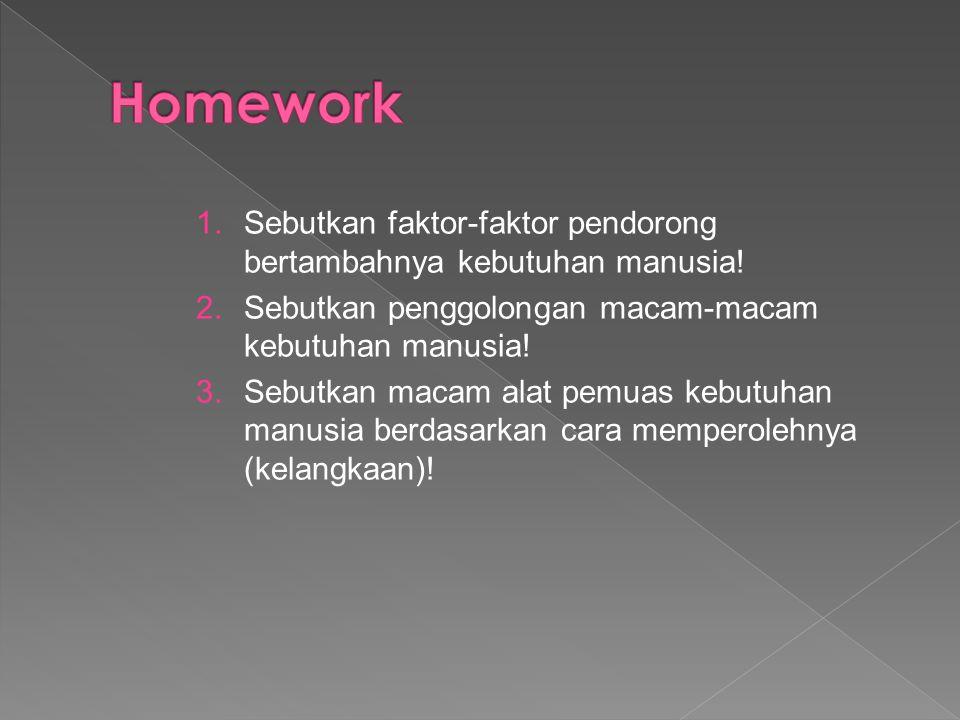 1.Sebutkan faktor-faktor pendorong bertambahnya kebutuhan manusia.
