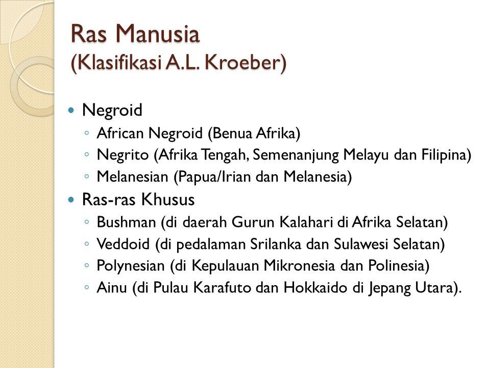 Ras Manusia (Klasifikasi A.L. Kroeber) Negroid ◦ African Negroid (Benua Afrika) ◦ Negrito (Afrika Tengah, Semenanjung Melayu dan Filipina) ◦ Melanesia