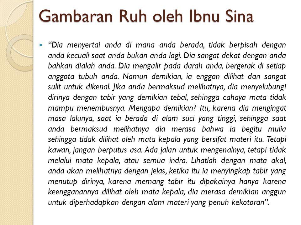 """Gambaran Ruh oleh Ibnu Sina """"Dia menyertai anda di mana anda berada, tidak berpisah dengan anda kecuali saat anda bukan anda lagi. Dia sangat dekat de"""