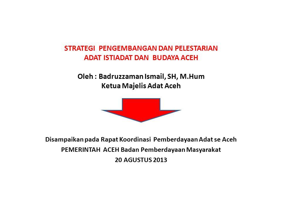 STRATEGI PENGEMBANGAN DAN PELESTARIAN ADAT ISTIADAT DAN BUDAYA ACEH Oleh : Badruzzaman Ismail, SH, M.Hum Ketua Majelis Adat Aceh Disampaikan pada Rapa