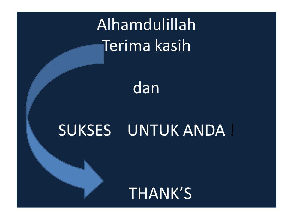 Alhamdulillah Terima kasih dan SUKSES UNTUK ANDA ! THANK'S