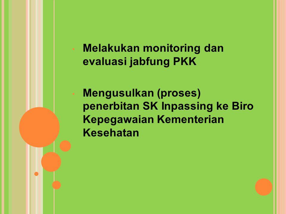 Melakukan monitoring dan evaluasi jabfung PKK Mengusulkan (proses) penerbitan SK Inpassing ke Biro Kepegawaian Kementerian Kesehatan