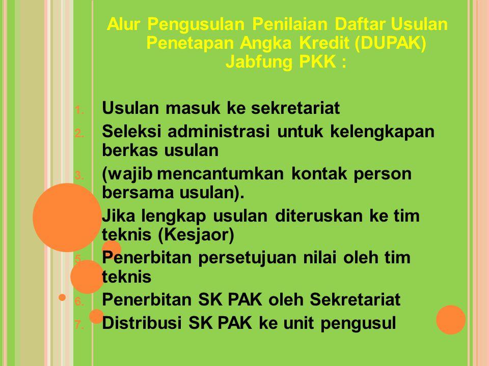 Alur Pengusulan Penilaian Daftar Usulan Penetapan Angka Kredit (DUPAK) Jabfung PKK : 1. Usulan masuk ke sekretariat 2. Seleksi administrasi untuk kele