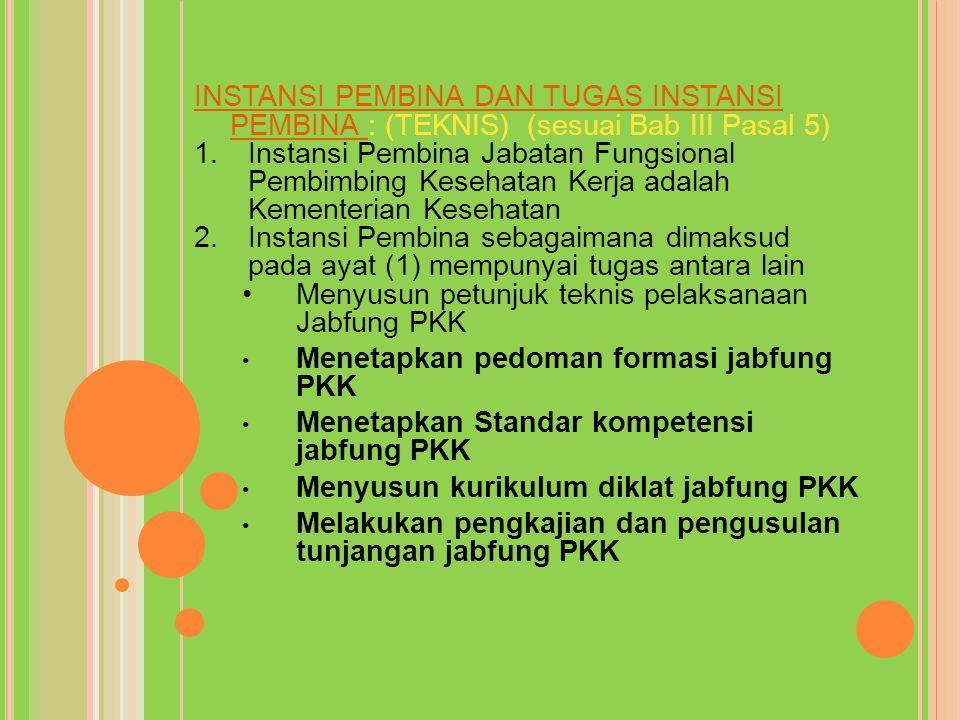 INSTANSI PEMBINA DAN TUGAS INSTANSI PEMBINA : (TEKNIS) (sesuai Bab III Pasal 5) 1.Instansi Pembina Jabatan Fungsional Pembimbing Kesehatan Kerja adala