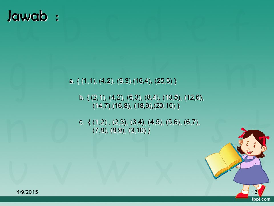 4/9/201512 C. Himpunan pasangan berurutan Contoh : Himpunan A = { 1, 2, 3, …, 25} dan B = { 1, 2, 3, …, 10 }. Tentukan himpunan pasangan berurutan yan