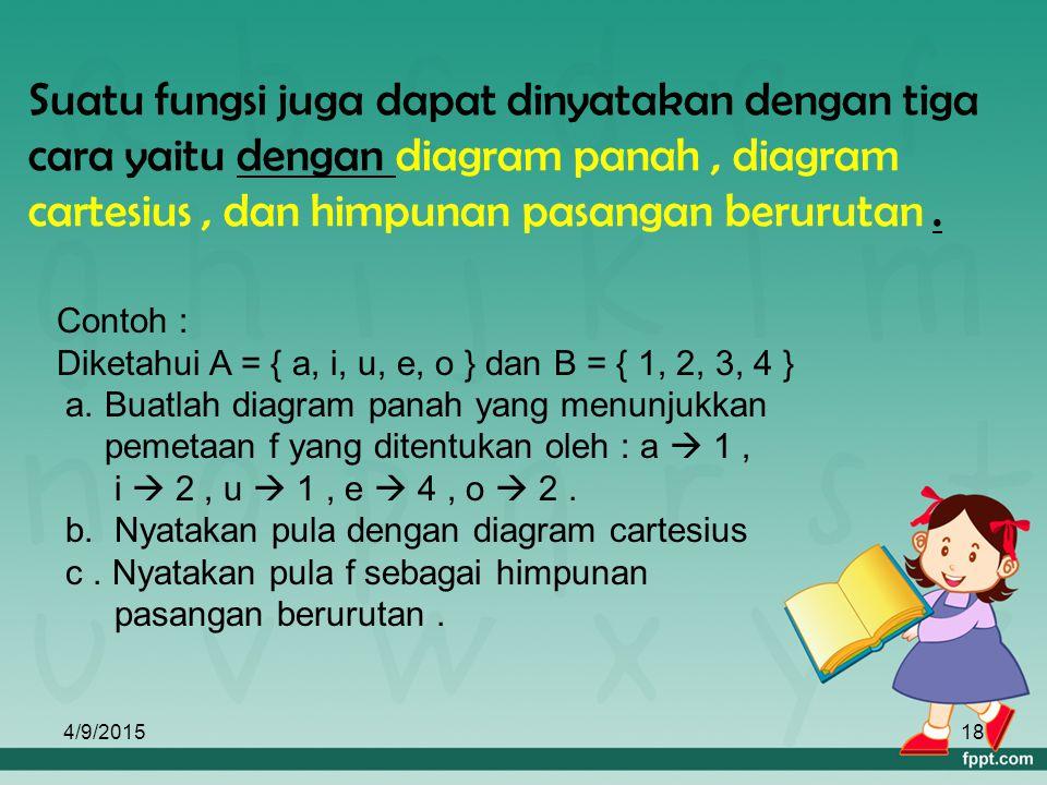 4/9/201517 2. Notasi Fungsi Fungsi/ pemetaan dapat dinotasikan dengan huruf kecil f, g, h, dan sebagainya. Misal : f : x  y dibaca f memetakkan x ke