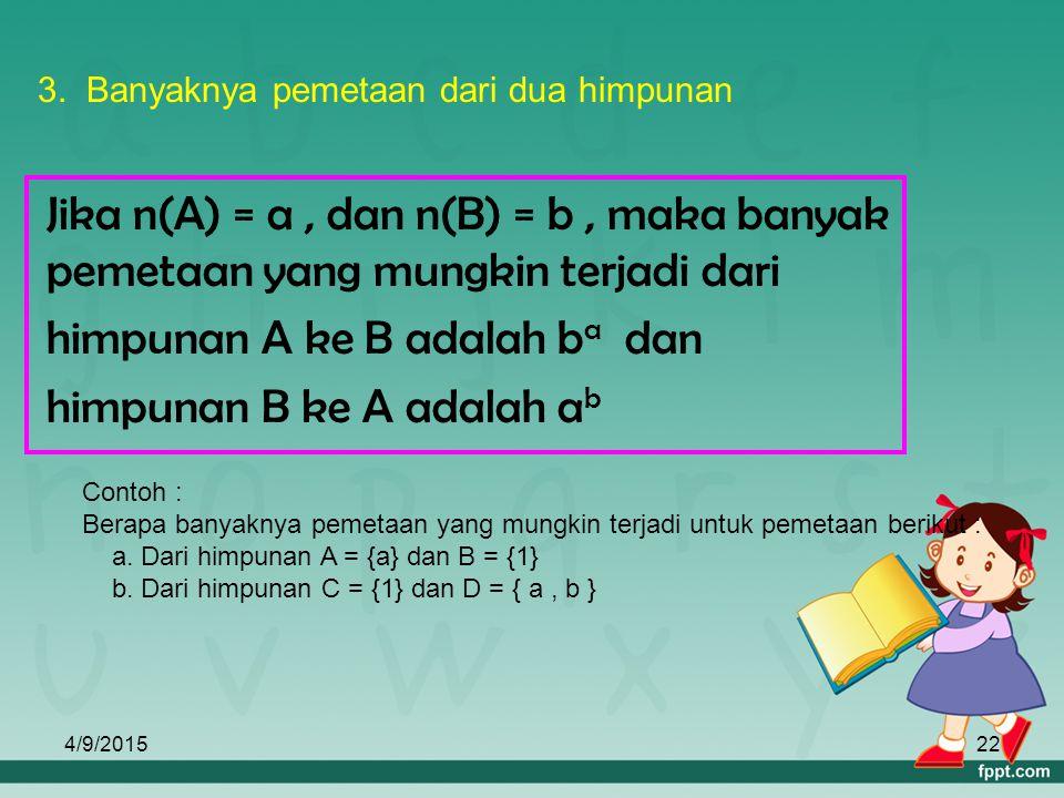 4/9/201521 { (a, 1), (i, 2), (u, 1), (e, 4), (o, 2) } c. Himpunan pasangan berurutan