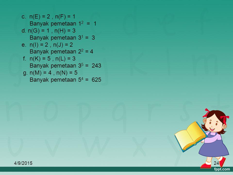 4/9/201523 c. Dari himpunan E = {a,b} dan F = {1} d. Dari himpunan G = {1} dan H = { a,b,c } e. Dari himpunan I = {1,2} dan J = { a,b} f. Dari himpuna