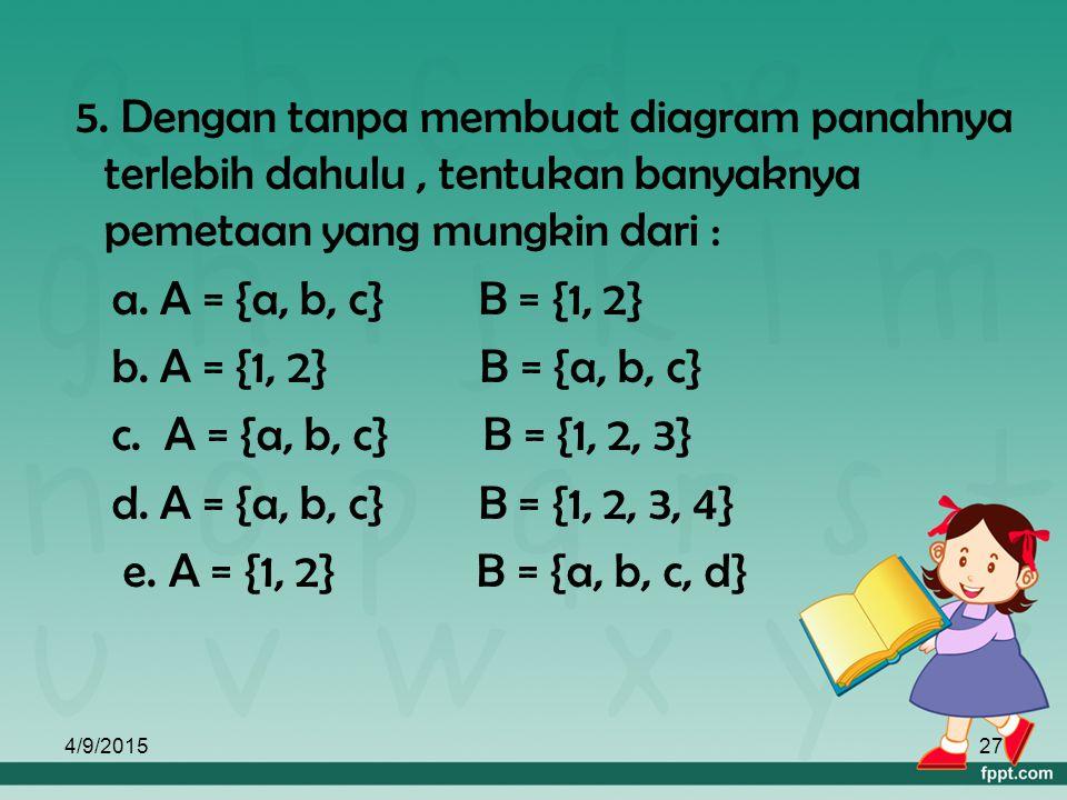 4/9/201526 a. Rumus fungsi f(x) = x +2 b. Daerah asal = { 2, 3, 4, 5 } c. Daerah hasil : f(x) = x + 2 untuk x = 2  f(x) = 2 + 2 = 4 x = 3  f(x) = 3
