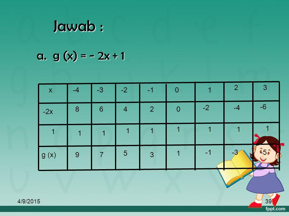 4/9/201538 2. a. Buatlah tabel fungsi g : x dengan 2. a. Buatlah tabel fungsi g : x  -2x + 1 dengan daerah asal { -4,-3,-2,-1,0,1,2,3 } ! daerah asal