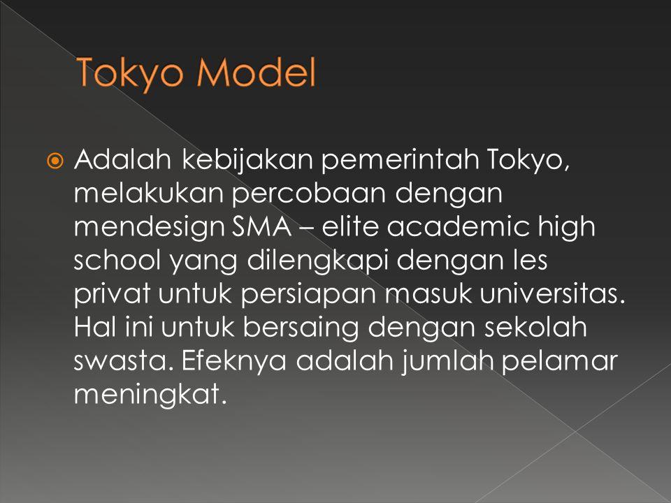  Adalah kebijakan pemerintah Tokyo, melakukan percobaan dengan mendesign SMA – elite academic high school yang dilengkapi dengan les privat untuk persiapan masuk universitas.