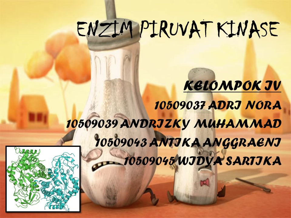 ENZIM PIRUVAT KINASE KELOMPOK IV 10509037 ADRI NORA 10509039 ANDRIZKY MUHAMMAD 10509043 ANTIKA ANGGRAENI 10509045 WIDYA SARTIKA