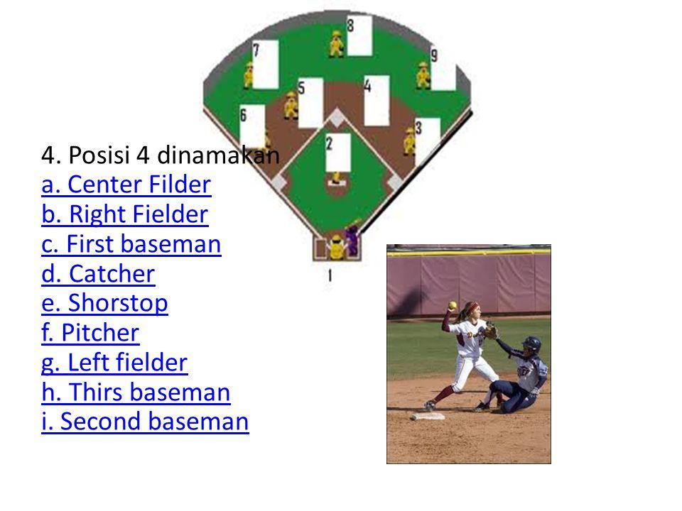 4. Posisi 4 dinamakan a. Center Filder b. Right Fielder c. First baseman d. Catcher e. Shorstop f. Pitcher g. Left fielder h. Thirs baseman i. Second