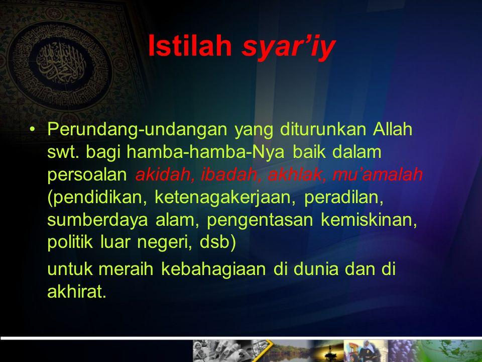 Pengertian Syariat (asy Syarîah) Bahasa Sumber air minum (mawrid al mâ` li al istisqâ) atau jalan lurus (at tharîq al mustaqîm