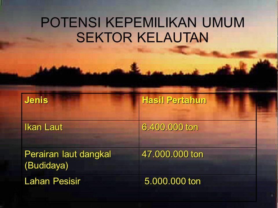 Indonesia juga memiliki potensi kekayaan laut luar biasa. Potensi produksi perikanan budidayanya terbesar di dunia, yakni sekitar 57,7 juta ton pertah