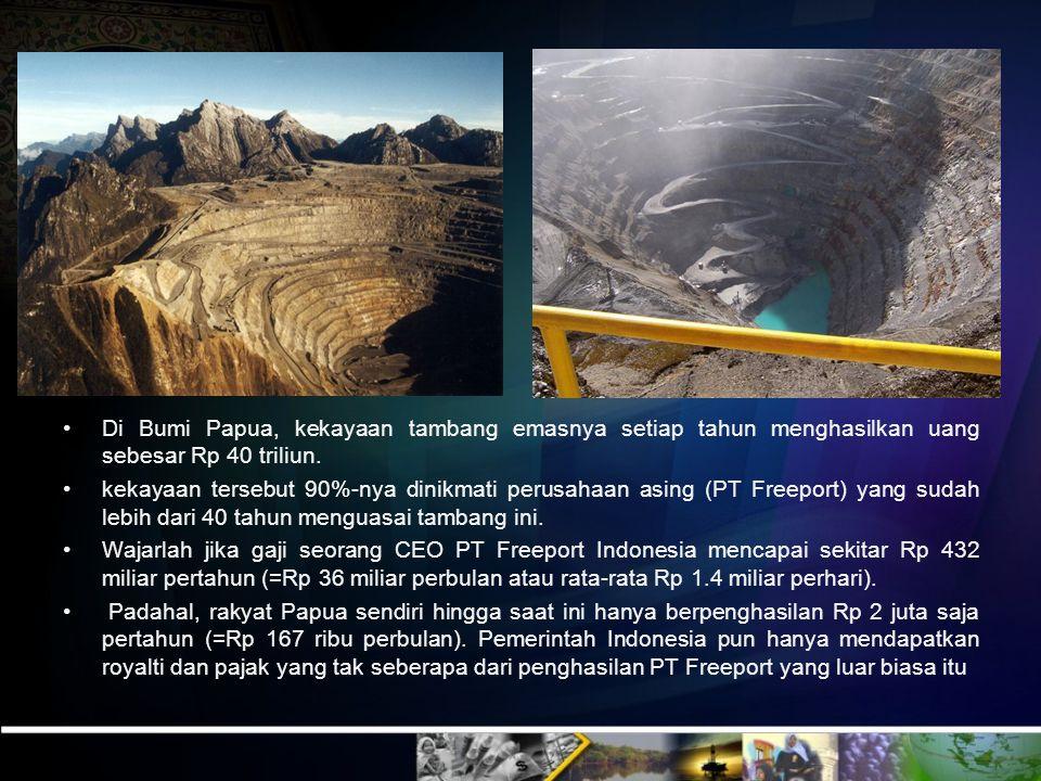 Beberapa Potensi Pendapatan Negara Jenis Tambang Potensi Rata-rata Produksi Pertahun Minyak 9.746.400 juta barel 1.252.000 barel Gas 176.60 triliun ku