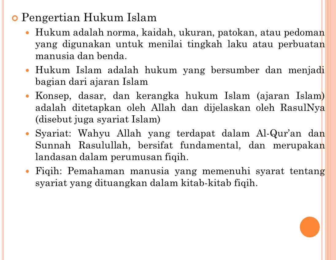 Pengertian Hukum Islam Hukum adalah norma, kaidah, ukuran, patokan, atau pedoman yang digunakan untuk menilai tingkah laku atau perbuatan manusia dan benda.