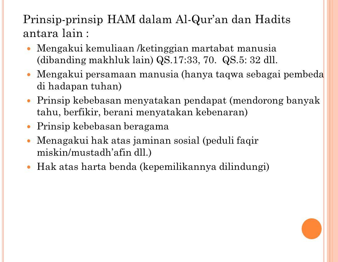 Prinsip-prinsip HAM dalam Al-Qur'an dan Hadits antara lain : Mengakui kemuliaan /ketinggian martabat manusia (dibanding makhluk lain) QS.17:33, 70.