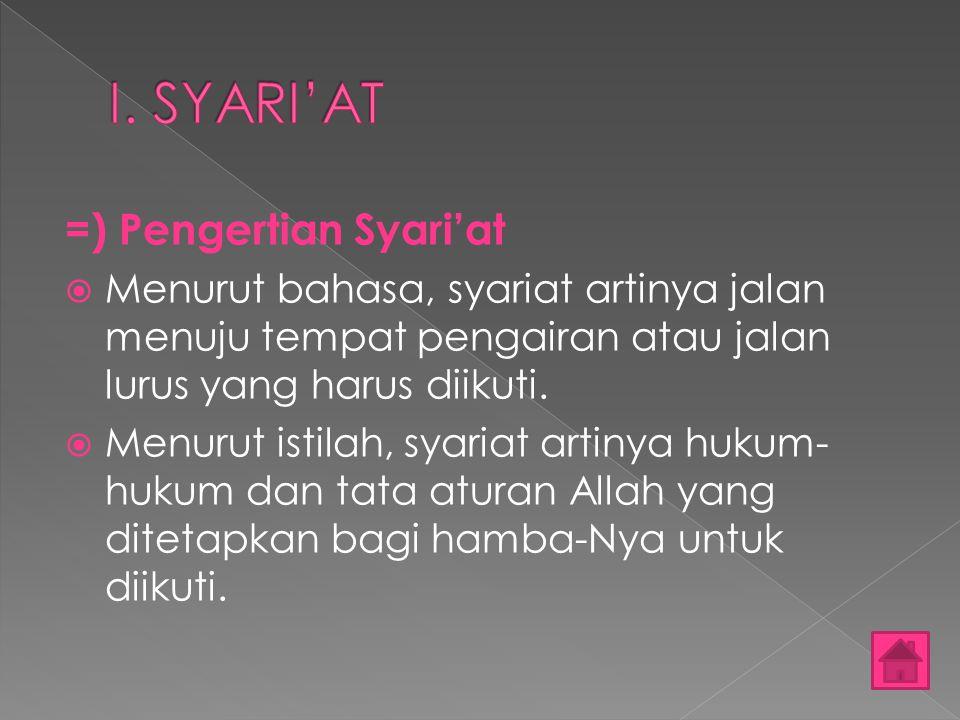 =) Pengertian Syari'at MMenurut bahasa, syariat artinya jalan menuju tempat pengairan atau jalan lurus yang harus diikuti. MMenurut istilah, syari