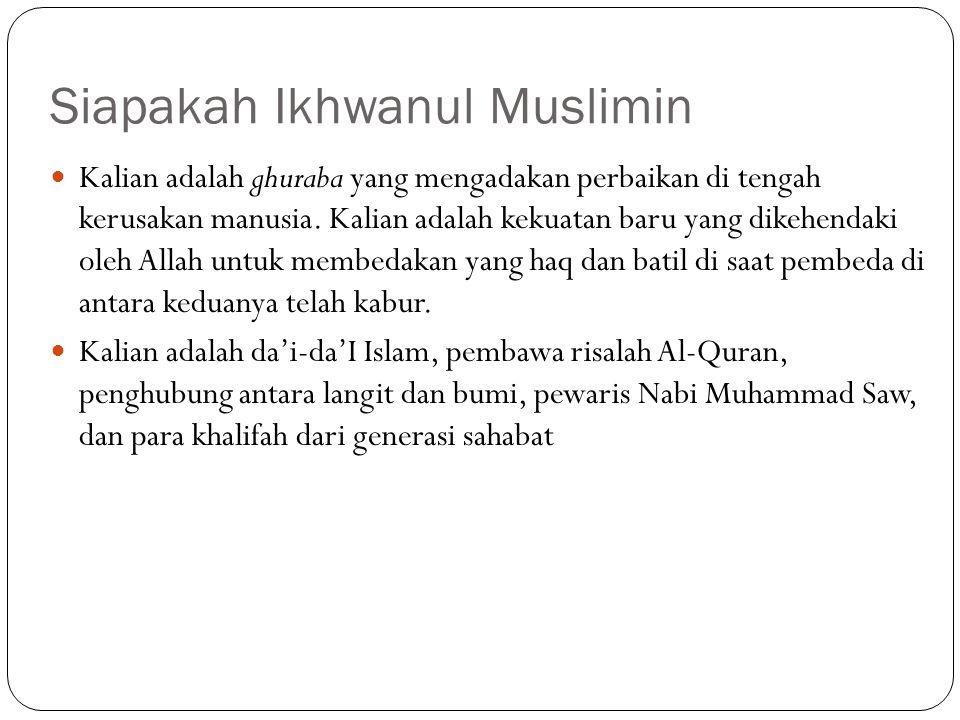 Siapakah Ikhwanul Muslimin Kalian adalah ghuraba yang mengadakan perbaikan di tengah kerusakan manusia. Kalian adalah kekuatan baru yang dikehendaki o
