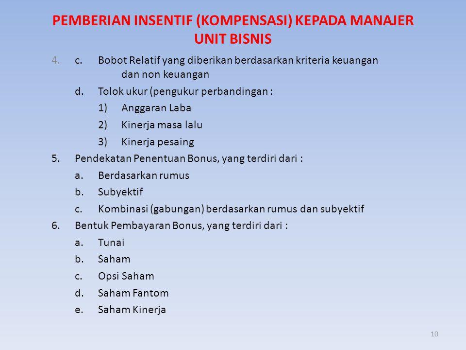 10 PEMBERIAN INSENTIF (KOMPENSASI) KEPADA MANAJER UNIT BISNIS 4. c. Bobot Relatif yang diberikan berdasarkan kriteria keuangan dan non keuangan d. Tol