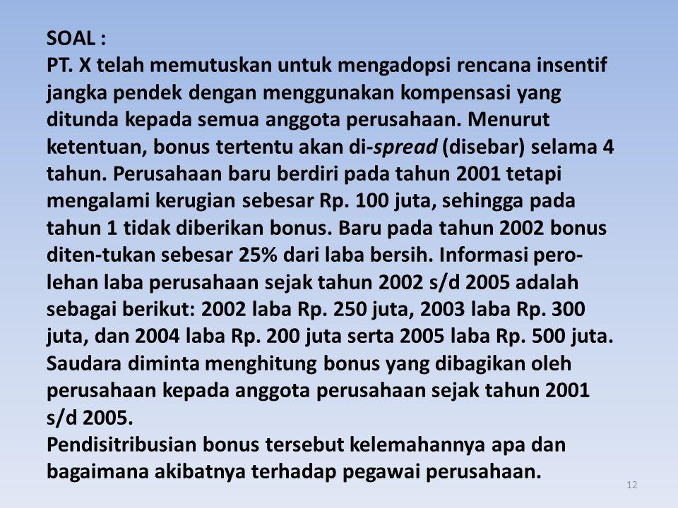 12 SOAL : PT. X telah memutuskan untuk mengadopsi rencana insentif jangka pendek dengan menggunakan kompensasi yang ditunda kepada semua anggota perus