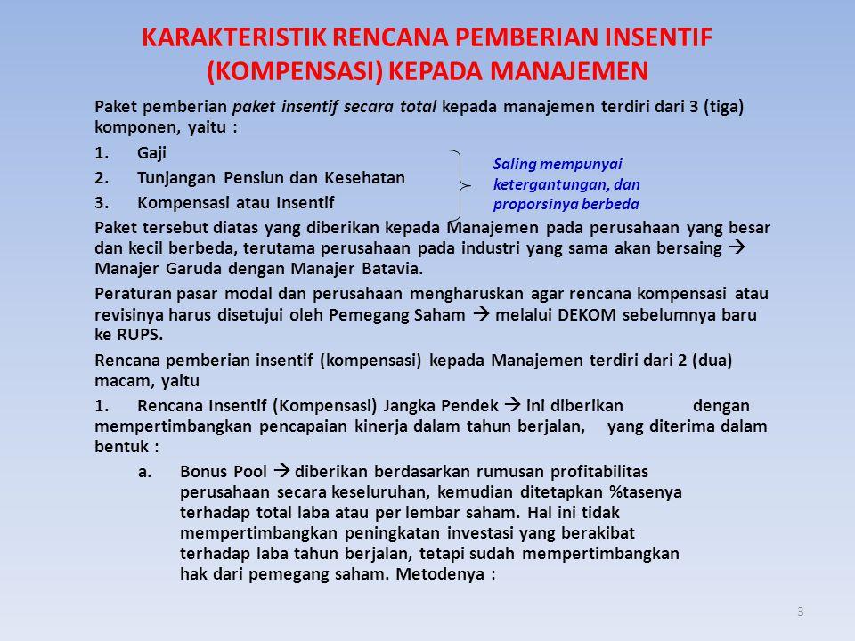 3 KARAKTERISTIK RENCANA PEMBERIAN INSENTIF (KOMPENSASI) KEPADA MANAJEMEN Paket pemberian paket insentif secara total kepada manajemen terdiri dari 3 (