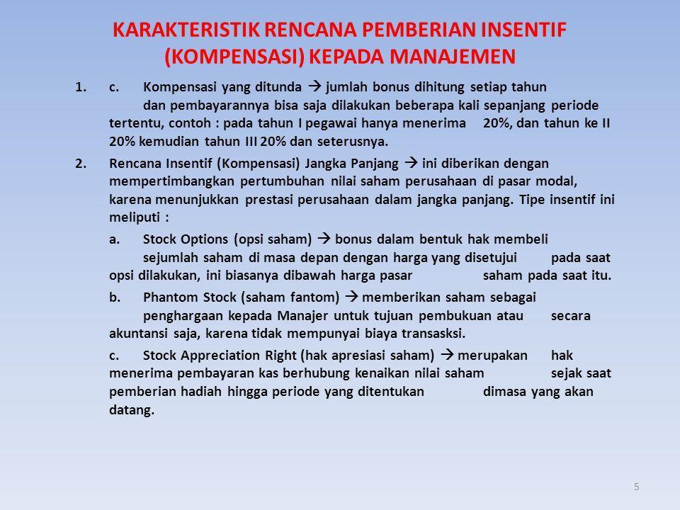 5 KARAKTERISTIK RENCANA PEMBERIAN INSENTIF (KOMPENSASI) KEPADA MANAJEMEN 1.c. Kompensasi yang ditunda  jumlah bonus dihitung setiap tahun dan pembaya